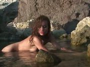 Insane curly brunette stripping nude