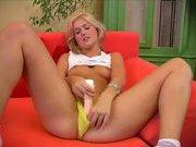 blonde with a nice body masturbates