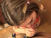 cute young student doing blowjob