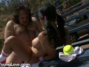 Big Tit Brunette Delights In Giving Blowjob To Mature Man