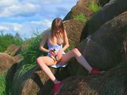 vibrating and fingering outdoor pussy